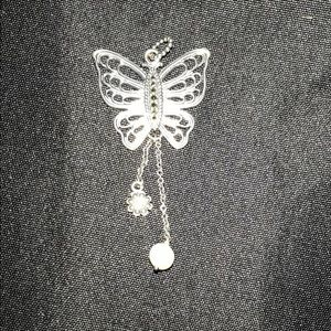 Pandora Butterfly Pendant Pearl Silver